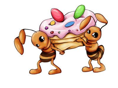 蚂蚁背食物简笔画